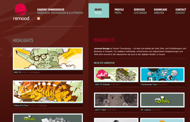 remood website inspiration design homepage german