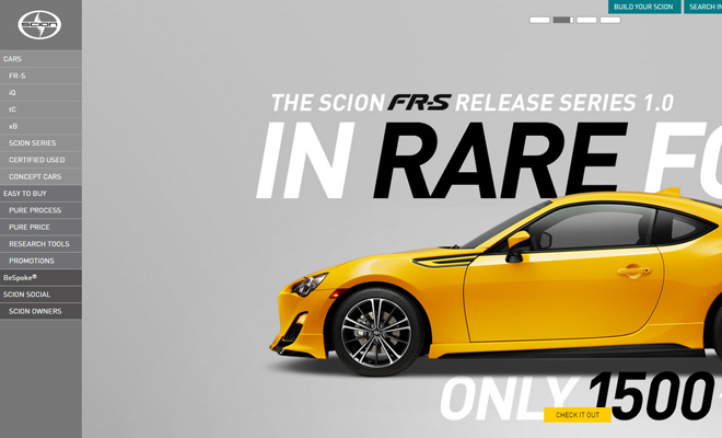 scion website car company design