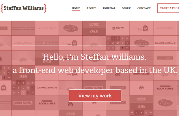 steffan williams website design portfolio header clean