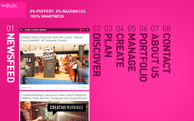 subplot pink design inc website layout homepage