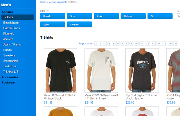 surf ride tshirts products ecommerce listing