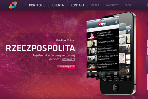 web design studio Syndergia purple layout