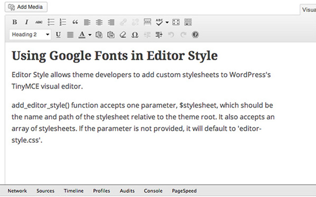 wordpress custom google fonts post ide editor