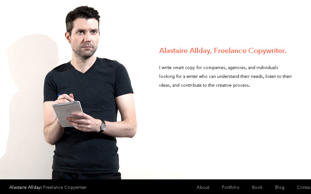 alastaire allday personal copywriter website layout
