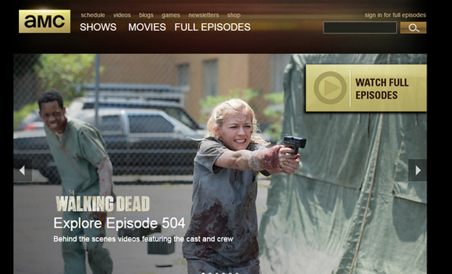 amc television channel website homepage
