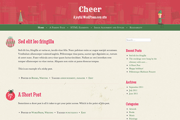 cheer wordpress christmas theme automattic free
