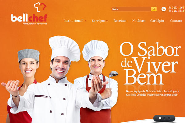 Bellchef website orange layout design