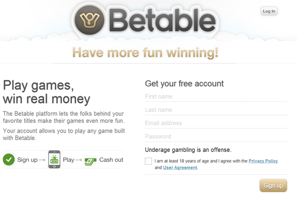 Betable website landing page