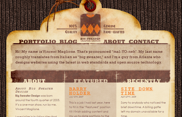 big sweater design website brown layout