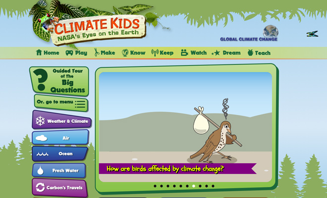 nasa climate kids green colorful homepage