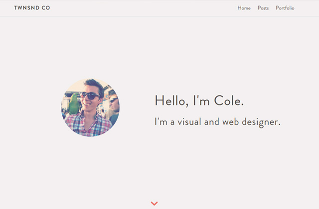 cole townsend flat portfolio website layout