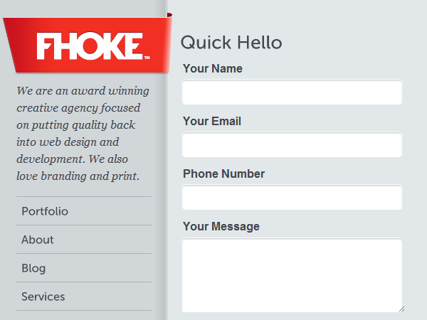 Fhoke Website Design Agency contact form
