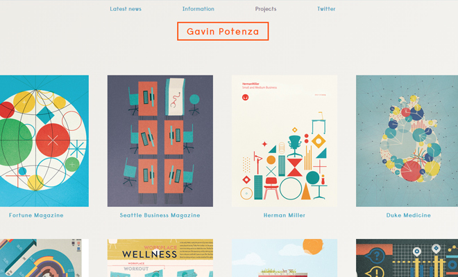 gavin potenza minimal website layout design