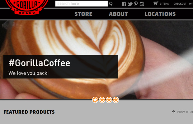 red coffee product website homepage layout