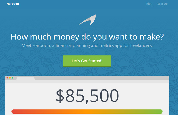financial planning harpoon app startup homepage