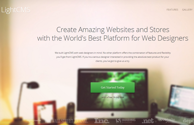 webdesigner cms light landing webpage interface