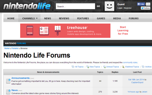 nintendo video game forums layout