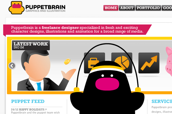 Puppetbrain website layout design