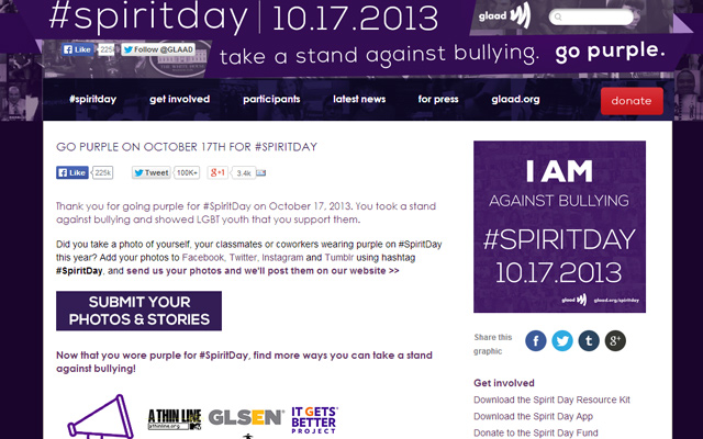 october 2013 spirit day purple website