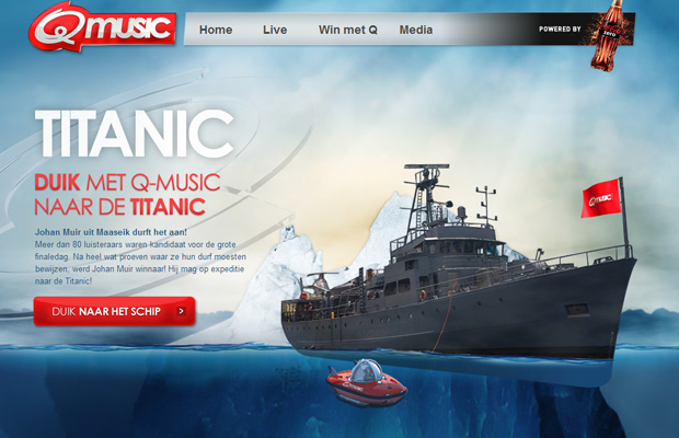 q music titanic website layout parallax