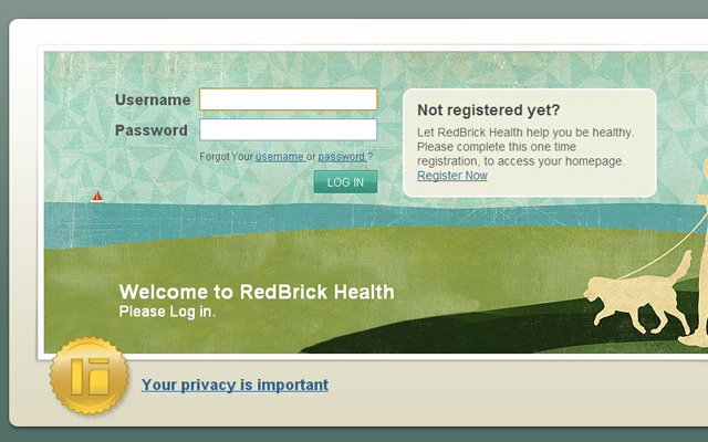 redbrick health login form background ui