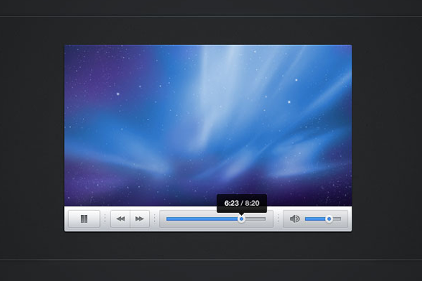 snappy light video player ui design psd download