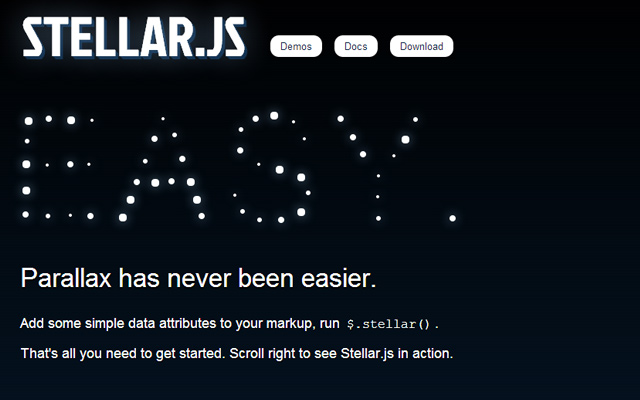 stellar parallax website layout homepage