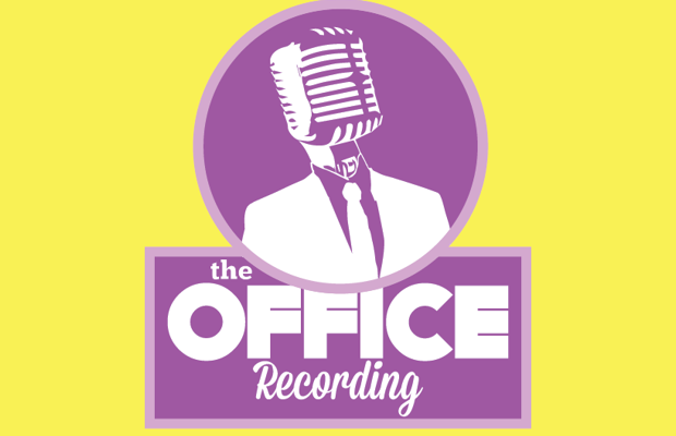 purple logo recording office identity