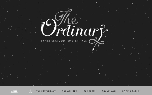 the ordinary seafood place restaurant dark grey website layout