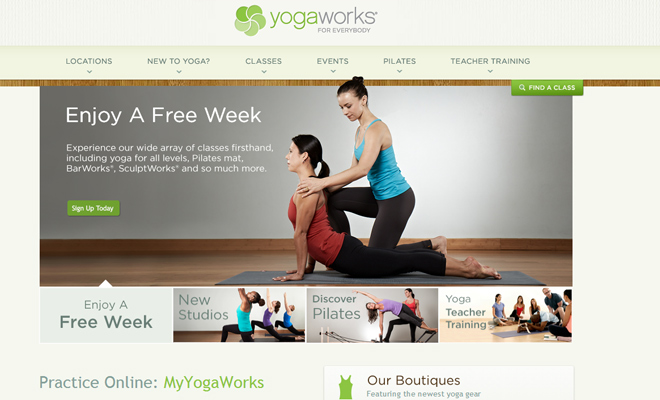 yogaworks yoga studio website homepage design inspiration