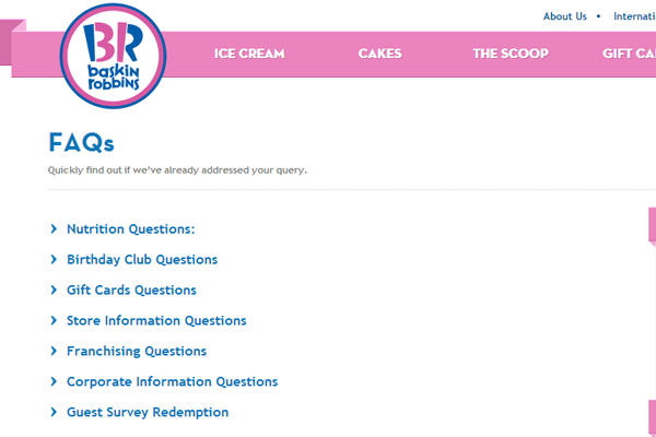 Baskin Robbins Ice Cream shoppe online website FAQs