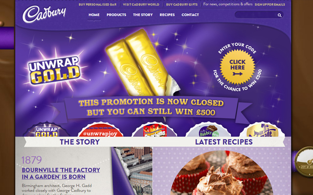 purple chocolate cadbury website layout