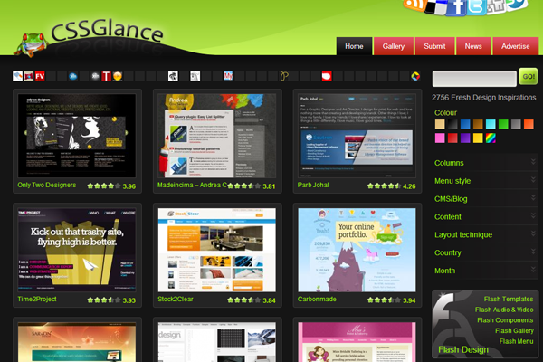 green cssglance website gallery css3 showcase
