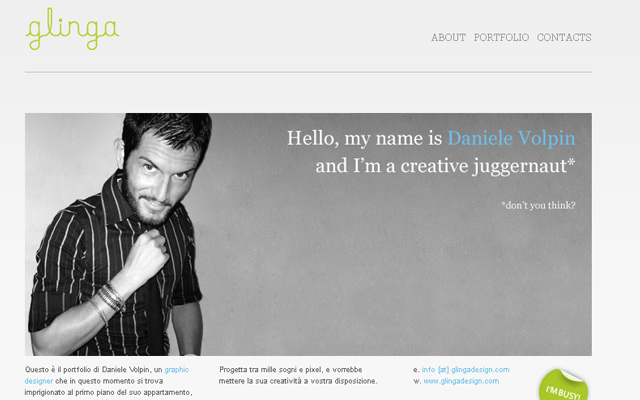 daniele volpin personal website layout