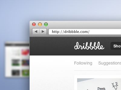 download Dribbble web browser window PSD