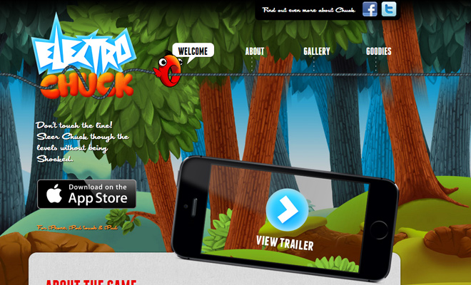 electro chuck iphone app game landing page