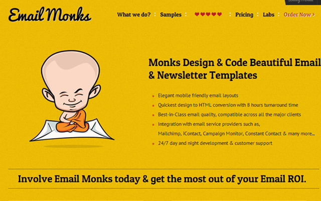 yellow orange email monks website layout