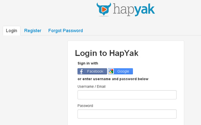 hapyak login registration page jquery design ui