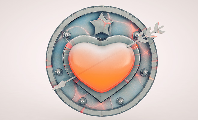 cinema4d design heart shield icon design