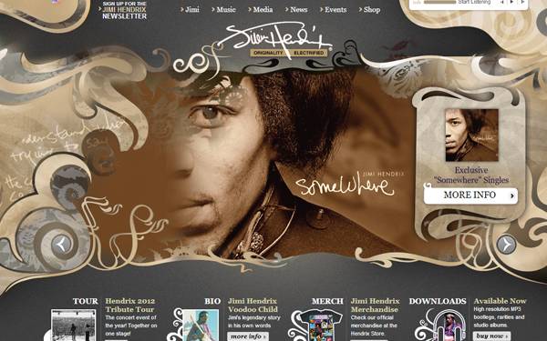 Jimi Hendrix musician website layout inspiring webdesign