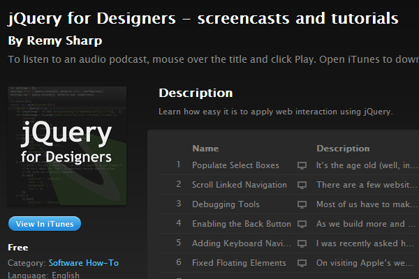 jquery for designers podcast radio