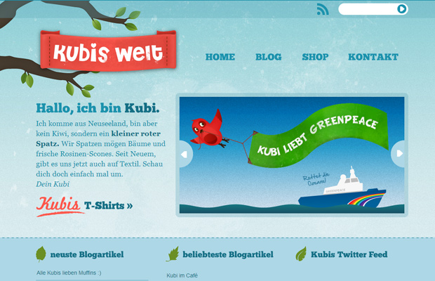 kubis welt homepage website layout design texture german