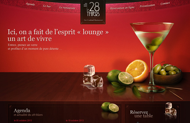 28thiers bar cocktail lounge france website red colors