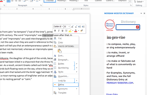 microsoft office addin merriam webster dictionary
