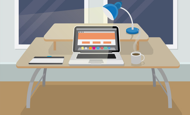 desk laptop vector design