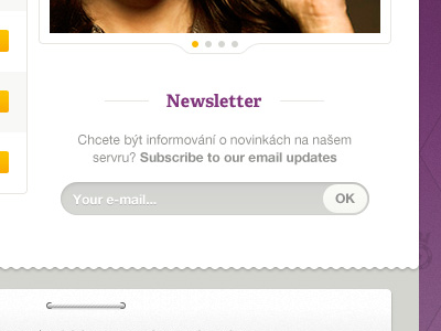 Purple website interface signup form field