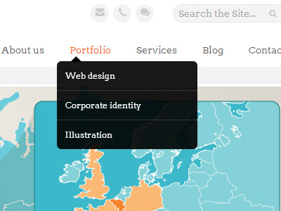 dark navigation dropdown menu list html5