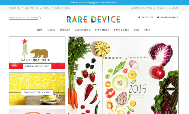 colorful website design rare devices shopify