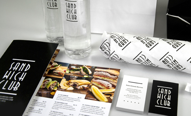 sandwich club minimal print menu packaging food logo
