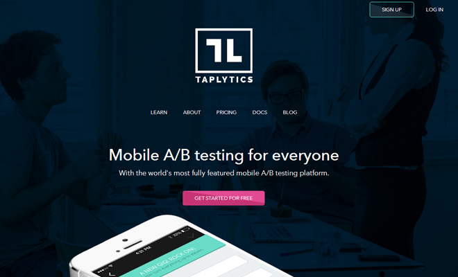 taplytics website layout header design